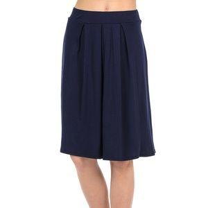 Navy Solid Midi Skirt
